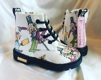 Custom childrens boots - Charlie and the Chocolate Factory inspired design - Roald Dahl kids shoes