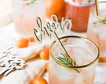 Cheers Wood Drink Stir, Wedding Drink Stir, Party Drink Stir