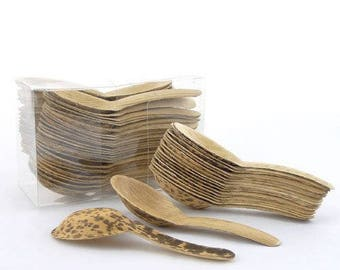 """Thermopressed Bamboo Leaf Chinese Soup Spoons - 5.1"""""""
