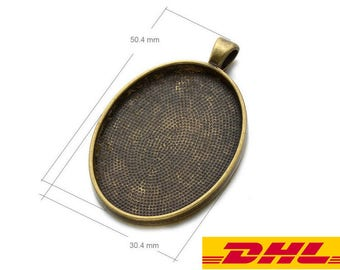 Bulk SALE-300PCS 30x40mm Oval pendant trays-Oval Cameo Setting Blank-30x40mm Pendant Blank-DHL EXPRESS-Need your mobile phone number-2 Color