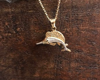 14 k gold Swordfish pendant necklace