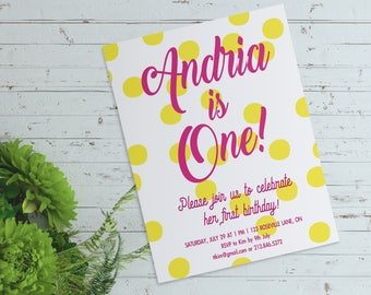 Adorable First Birthday Invitation - Pink and Blue - Digital File (PDF or JPEG)