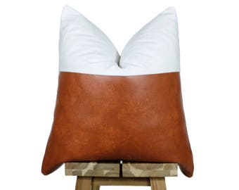 Faux Leather and Linen Pillow Cover | Bourbon & Off White | 'Indi'