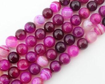 8mm Agate Beads Hot Pink Agate Beads Gemstone Beads Round Ball Beads Hot Pink Beads ----about ---15inch --One Full Strand-NS105