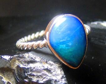 Australian Blue Opal Ring