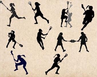 Lacrosse girls svg bundle, lacrosse clipart, svg files for silhouette, cricut download, svg files, dxf, png, cut files, vector
