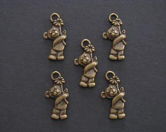 Teddy Bear Hugging Flower Charm, Antique Bronze, Zinc Based Alloy, 1.9cm X 0.9cm, Set of 5  (C85)