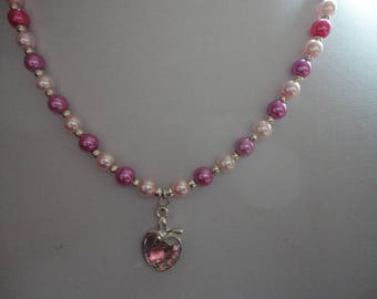 Pink Apple Dual Colour Beaded Necklace - N67A