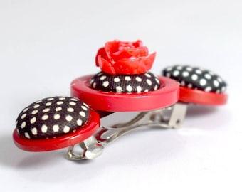 Rockabilly Polka Dot Rose Hair Slide Clip Retro 1950s Kitsch