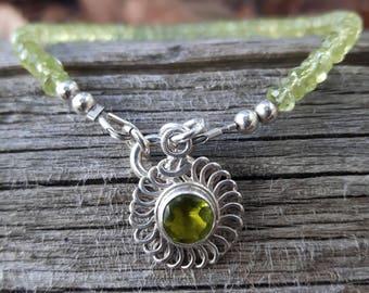 Genuine Peridot Bracelet, August Birthstone Jewelry, Peridot & Sterling Silver Charm Bracelet, Green Gemstone Jewelry, Peridot Jewelry,