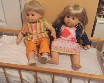 Lot American girl Bitty Babies baby dolls blonde hair blue eyes twins