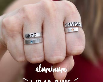 Aluminum Wrap Ring With or WithOut Stones | Mothers Ring | Personalized | Hand Stamped | Jewelry | Gifts For Her
