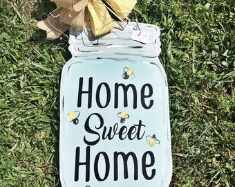 Mason Jar Home Sweet Home door hanger