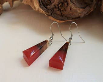 FREE SHIPPING, resin and natural wood earrings bordeaux, gift for her, birthday gift, handmade earrings