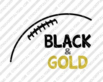 Black and Gold Football design, SVG, DXF, eps, png cutting files, Silhouette, Cameo, Cricut, high school, college, club teams