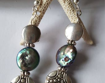 925 solid Silver shepherd hook and freshwater pearl beaded dangle earrings