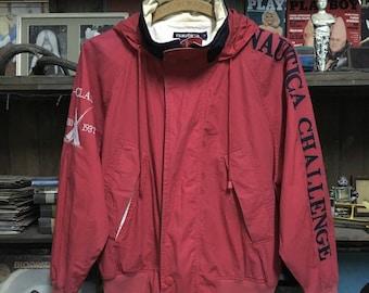 Vintage 90s NAUTICA Challenge J-Class Color Block Hooded Windbreaker Jacket