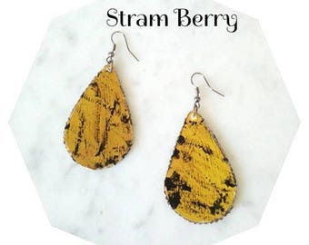 Recycled paper earrings mustard-yellow