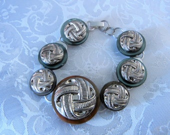 Trendy Button Bracelet Repurposed Recycled Jewelry Accessory Vintage Inspired Handcrafted Womens Gypsy Boho