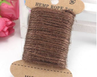 10 m Brown hemp twine string - Brown 2 mm natural jute Twine - for decoration wedding, crafts, scrapbooking...