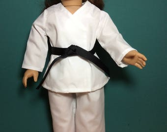 18 Inch Doll Clothes  Karate Outfit With Choice Of Belts Also Fits Like American Girl Doll Clothes