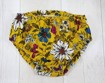 Floral baby bloomers, girly baby pants, floral nappy cover, girls diaper cover, 0 3 6 12 24 months, baby knickers, yellow flower bloomers