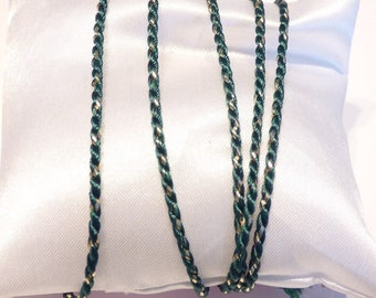 Green and gold color braid bead cord