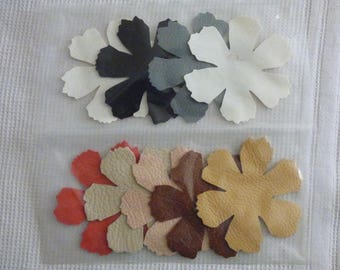 LOT 5 LEATHER FLOWERS AND 4 FAUX LEATHER FLOWER