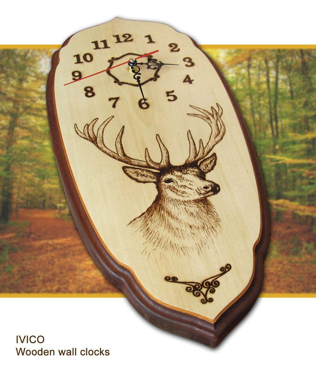 Wooden wall clock deer clock wildlife wall clock art wall description about the clock amipublicfo Image collections