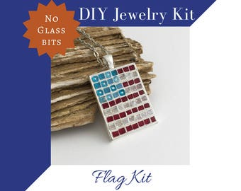 USA Flag Craft Kit, No Glass Mosaic Necklace Activity Kid Safe Kit, Red, White, and Blue Colors, Gift for Future Crafter, DIY Craft Kit