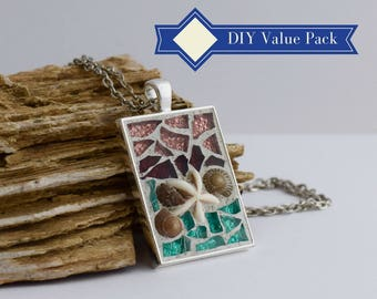 DIY Make Your Own Art, 8 Pack Party Activity, Women's DIY Gift Ideas, Bright Colored Glass, Glass Mosaic Jewelry Kit, Do It Yourself Kit