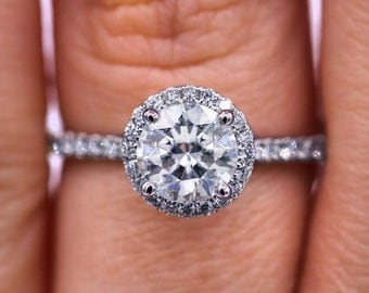 Delicate Halo 1.29cts diamond ring