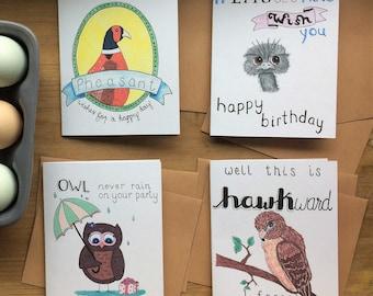 Birds Card Set of 8 with 8 Kraft Envelopes Blank Inside