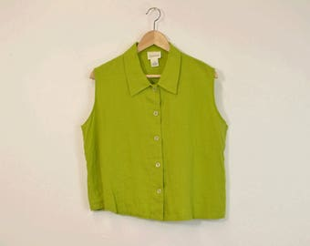 Linen Tank Top, Minimal Linen Top, Vintage Linen Blouse, Lime Green Sleeveless Blouse, Loose Fit Top, 90s Casual Top, 90s Minimal Top
