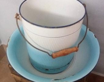 Vintage Matching Enamel Bowl & Backet