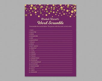 Bridal Shower Word Scramble Game Printable, Purple Gold, Unscramble The Words, Word Search Games, Wedding Shower, Search, Find Words, A006