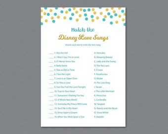 Aladdin Match the Disney Love Songs Game Printable, Bridal Shower Games, Bachelorette Party Games, Wedding Shower, Blue Gold Confetti, A016