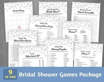 Bridal Shower Games Package, Silver Confetti Dots, Bridal Shower Activities, Instant Download, Game Pack, Shower Bundle Set, BSPKG, A003