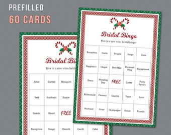 Christmas Bridal Shower Bingo, Unique Prefilled 60 Cards Printable, Winter Holidays, Bridal Shower Games, Bachelorette Bingo, Wedding,  A024