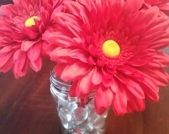 Red Gerber Daisy Flower Pens