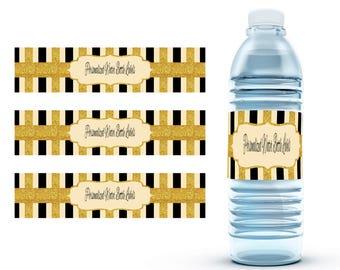 Stripped Water Bottle Labels