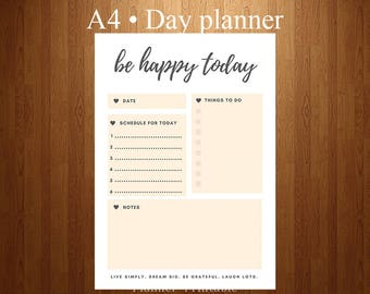 Day Planner Page Printable A4 - Thing to do, Happy today, Minimalist, To do list printable, Schedule, Digital, INSTANT DOWNLOAD