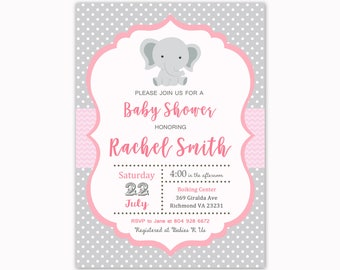 Elephant Baby Shower Invitation, Baby Shower Invitation, Baby Elephant Baby Shower, Printable Invitation