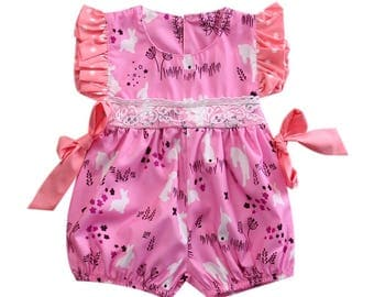 Baby Girl Bubble Romper Easter Outfit