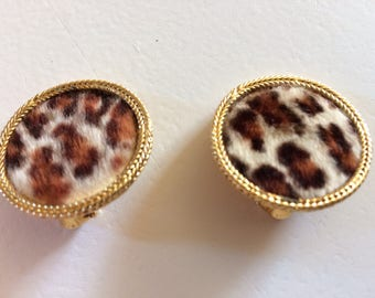 Quirky Vintage Signed BSK Clip On Earrings