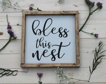Bless this nest sign, Wood sign, Calligraphy, Kitchen sign, Home decor, Housewarming, Just because, Gifts for her, Wall sign, Wood sign, Joy