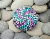 RESERVED FOR JOSE - Purple Painted Rock - Turquoise Mandala Stone - Meditation Mandala Rock - Dot Art - Chakra - Paperweight
