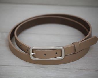 Leather Belt, Beige Leather Belt, Beige Womens Belt, Skinny Belt, Thin Belt, Dress Belt