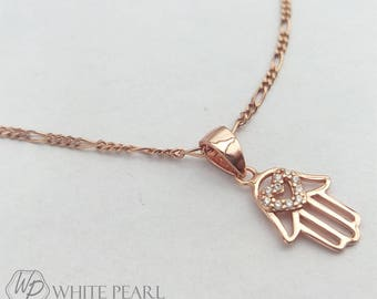 Silver Hamsa Hand Necklace. Pink Gold Plated Silver. Jamsa.