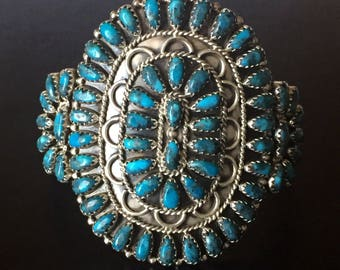 Vintage Navajo Turquoise Cluster Sterling Silver Cuff